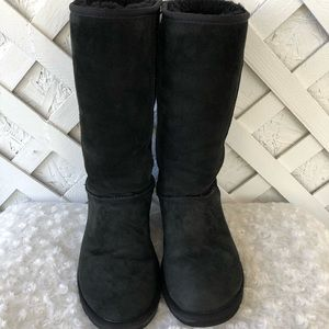 Ugg Classic Tall Boots Black Suede Leather Sz8